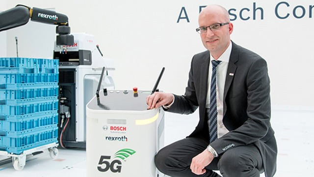 A man featuring 5G technology display