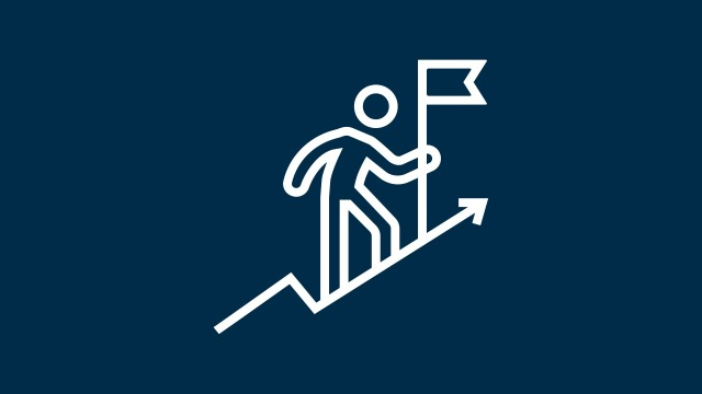 Icon of a person climbing on an ascending arrow