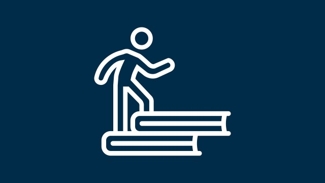 Icon of a person walking up stairs consisting of books