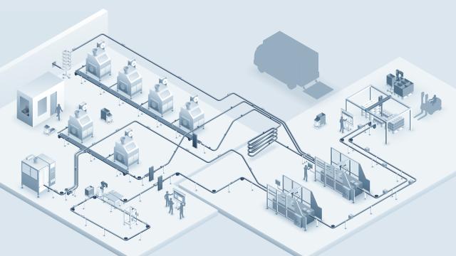 Gesamtheitliche Darstellung aller Produktionsschritte in einer automatisierten Nahrungsmittelverpackung.