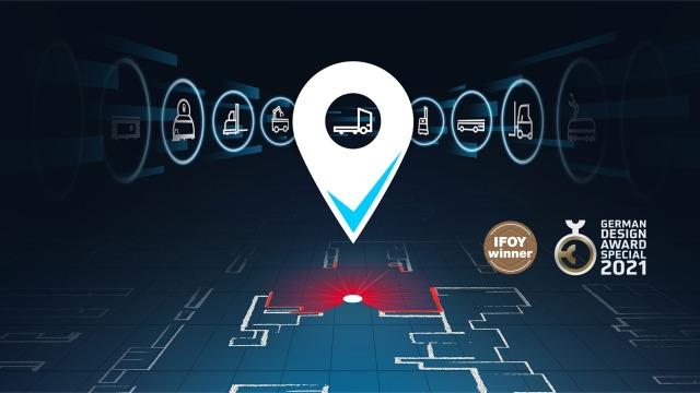 Pin mit Haken und verschiedenen mobilen Robotern zur Auswahl, darunter ist eine 2D-Hallenkarte mit rotem Laserlicht zu sehen.