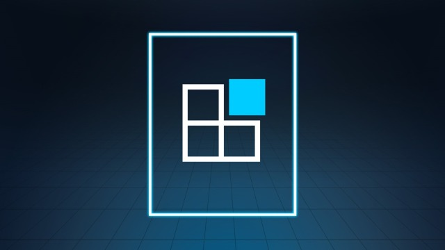 Four squares, one of them in blue to illustrate the flexible modular system of the software component.
