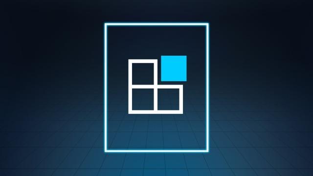 Vier Quadrate, davon eines in blau zur Veranschaulichung des flexiblen Baukastensystems der Softwarekomponente.