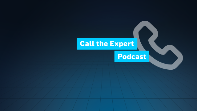The title boxes Call the Expert and Podcast are displayed on a grid together with a telephone receiver symbol.