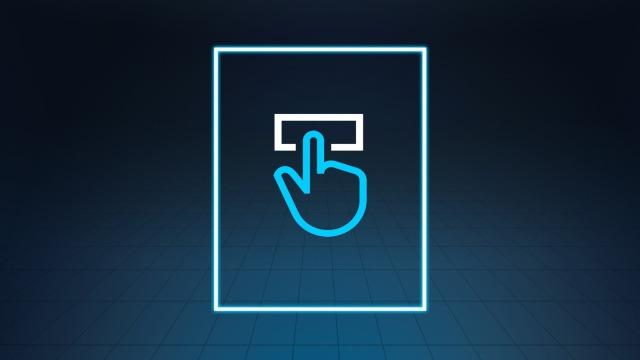 Ein blaues Handsymbol klickt mit ausgestrecktem Zeigefinger auf einen weißen Button zur Veranschaulichung der Benutzerfreundlichkeit der Lokalisierungssoftware.
